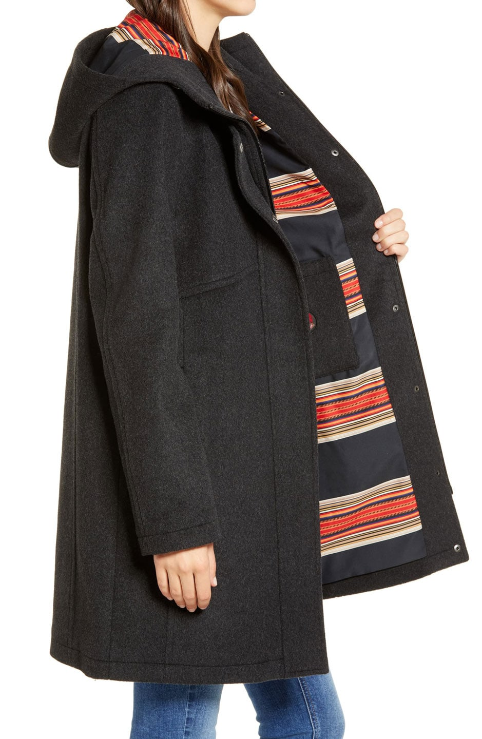 wool coat with bright stripe lining
