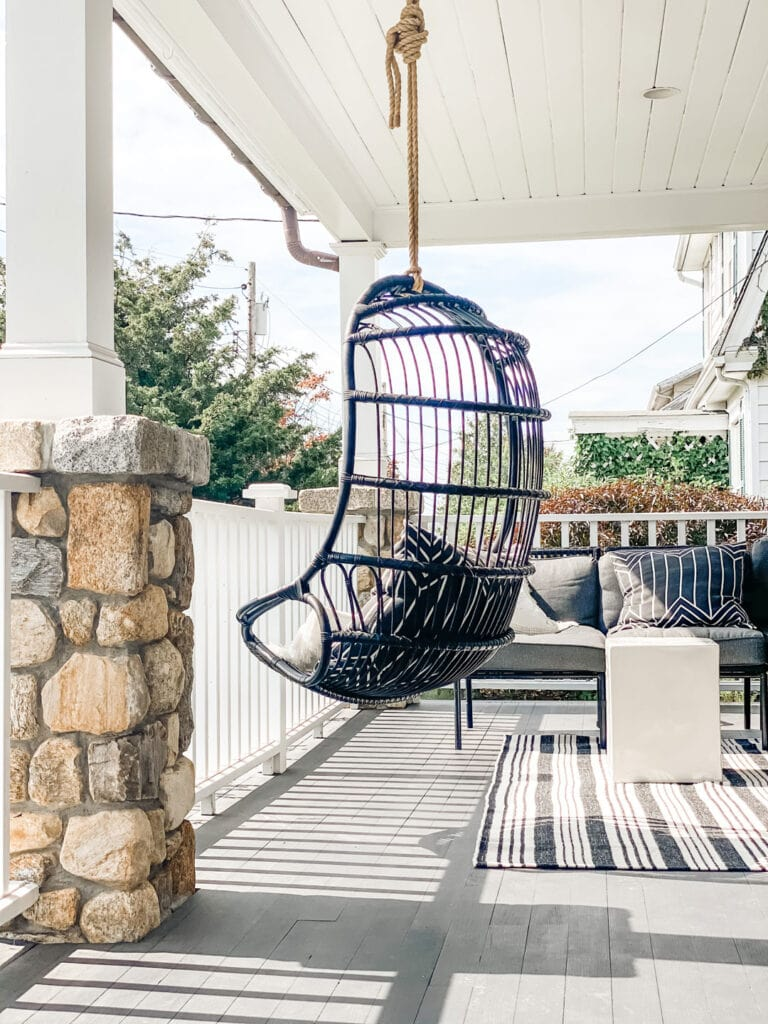 Lifestyle Blogger Annie Diamond painted her hanging chair from Serena & Lily using Chalk spray paint