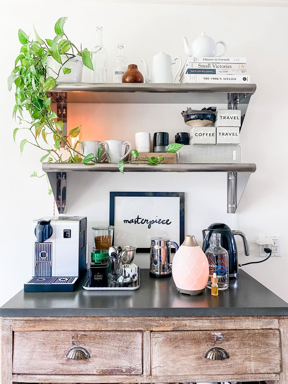 Lifestyle Blogger Annie Diamond shares her coffee bar that she made out of a piece of furniture she had for years just by adding a stone top.