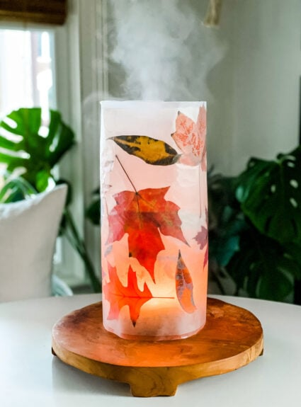 A Simple DIY Wax Paper Leaf Cover for your diffuser