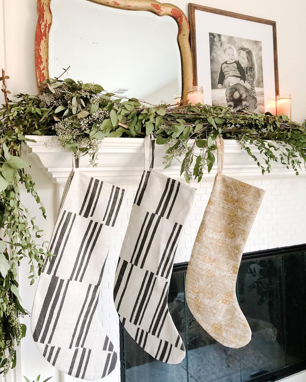Christmas stockings on mantel