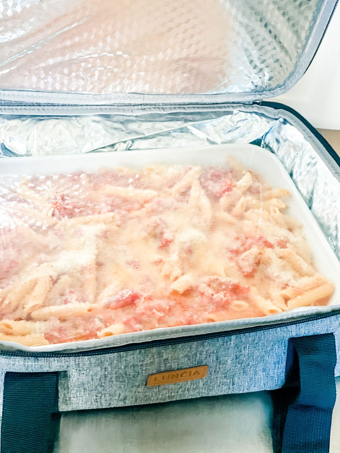 casserole carrier with pasta dish