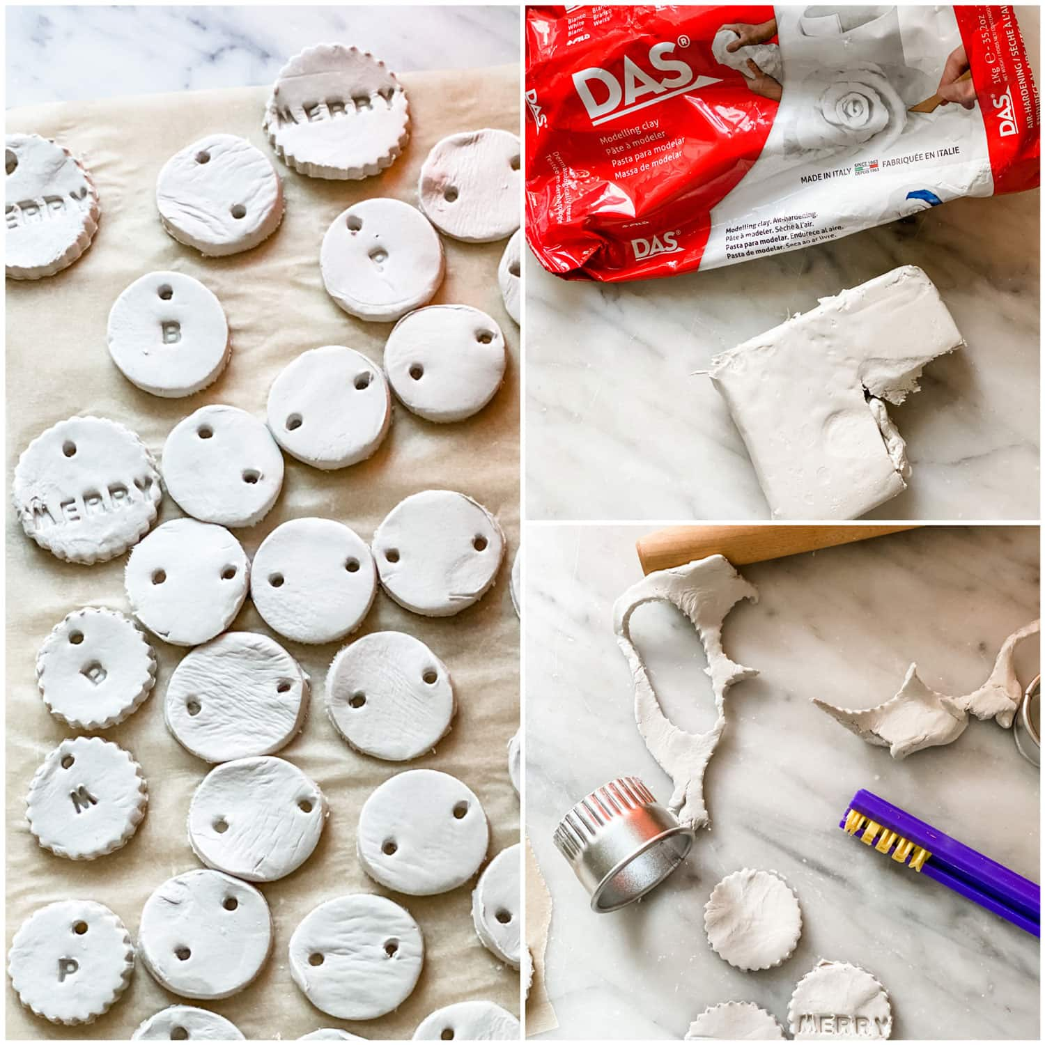 clay tags, letter stamp holder and clay