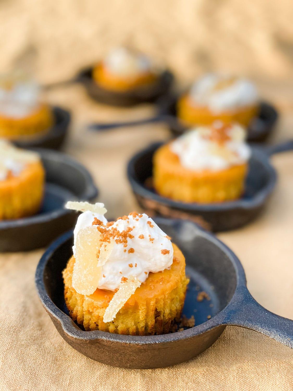 mini pumpkin pies in individual Lodge Cast Iron Pans
