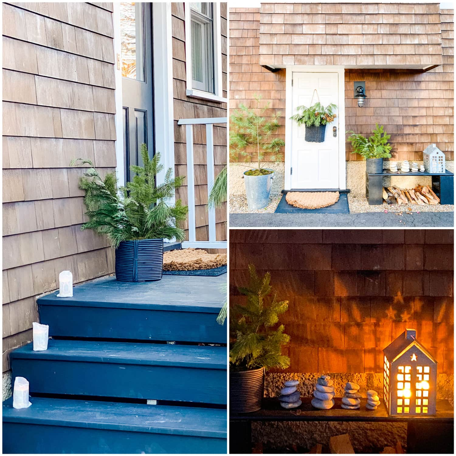 door with basket filled with greens, light, black bench, steps, house lantern