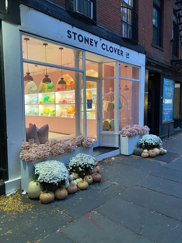 shop with pumpkin display on Bleecker Street, NYC