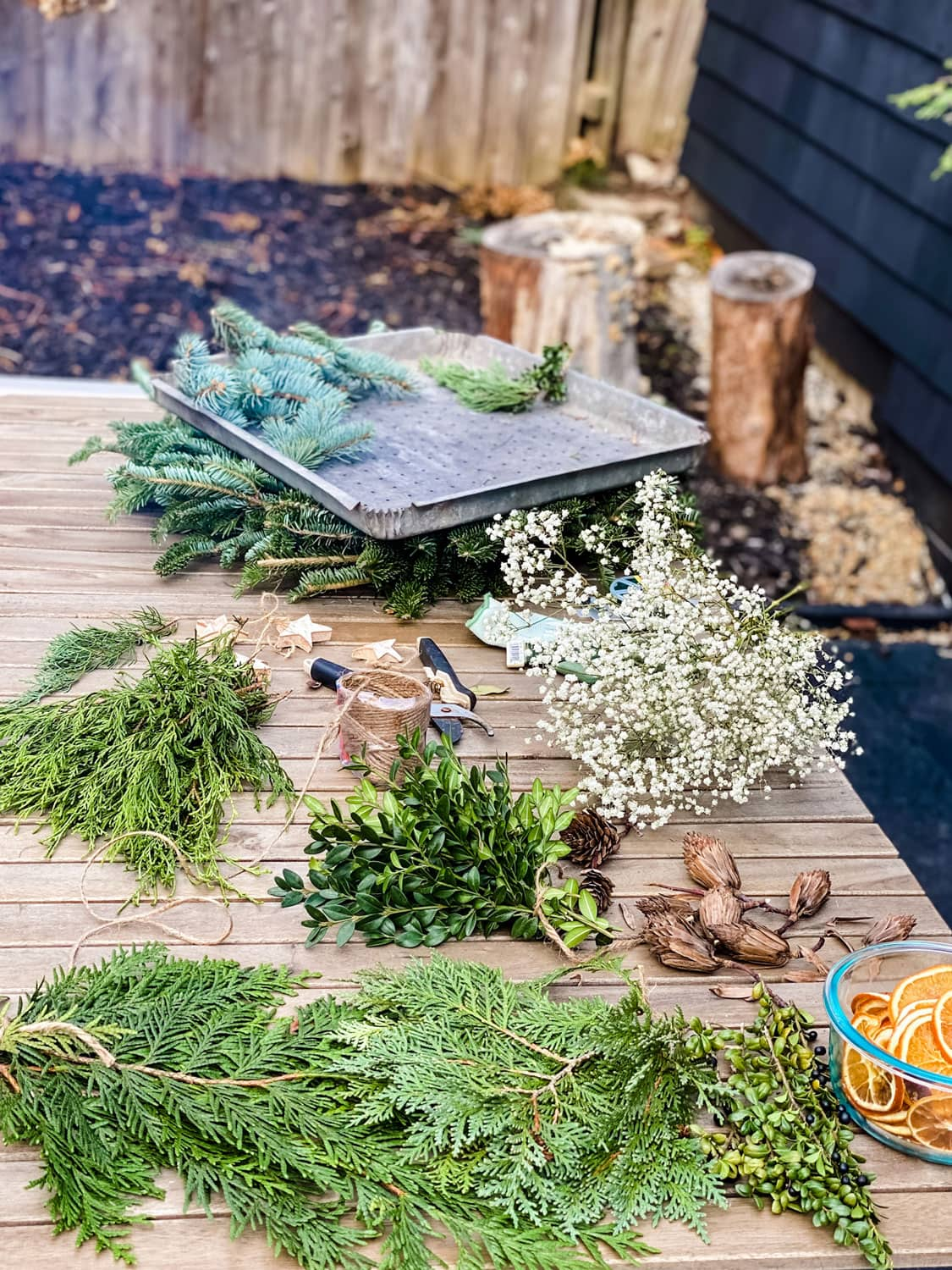 foraged materials on table