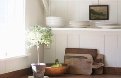 Megan Miller's kitchen with open shelving, copper pots, topiary and art