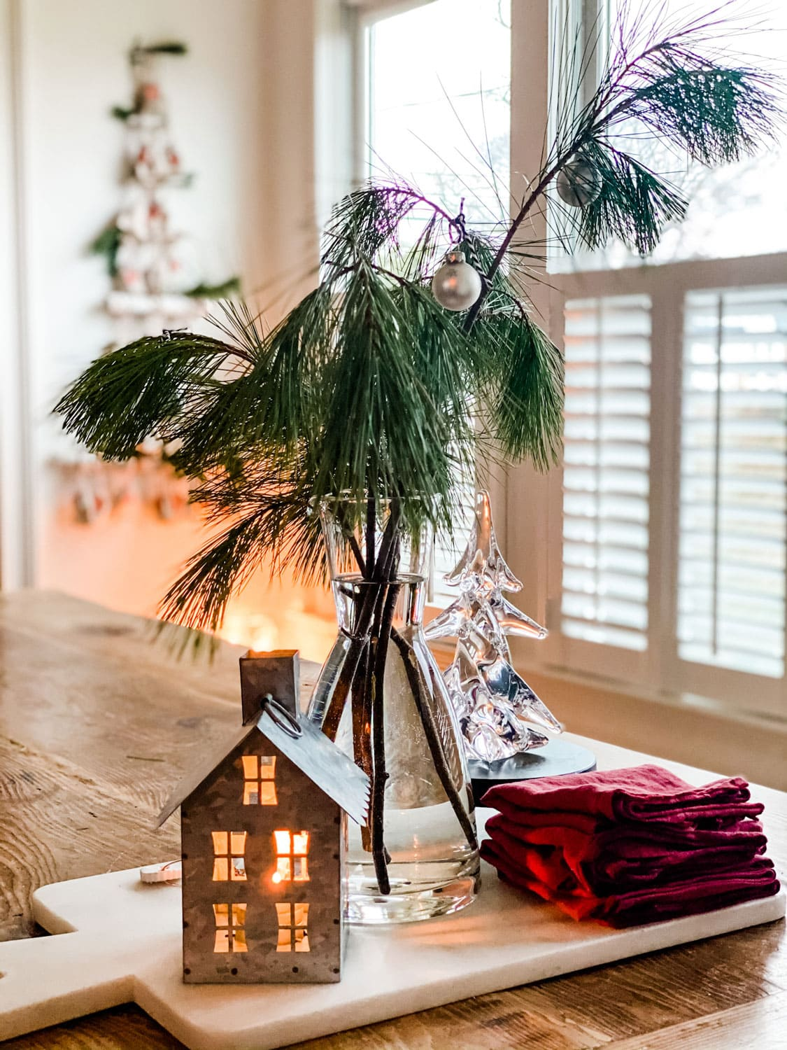 small holiday decorations on table