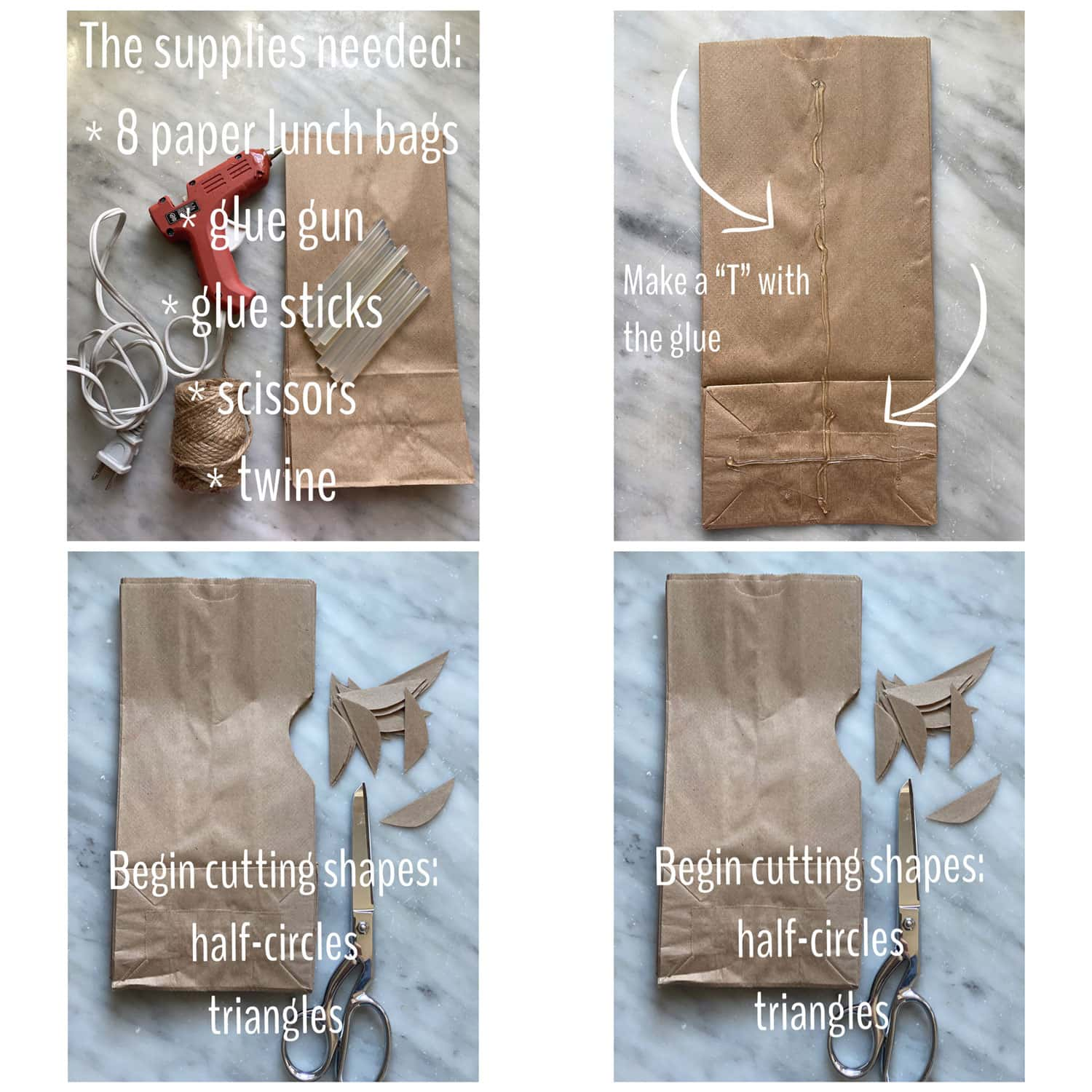 step by step instructions to make paper bag stars- photos with text