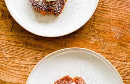 carrot cake pancake with cream cheese on plates