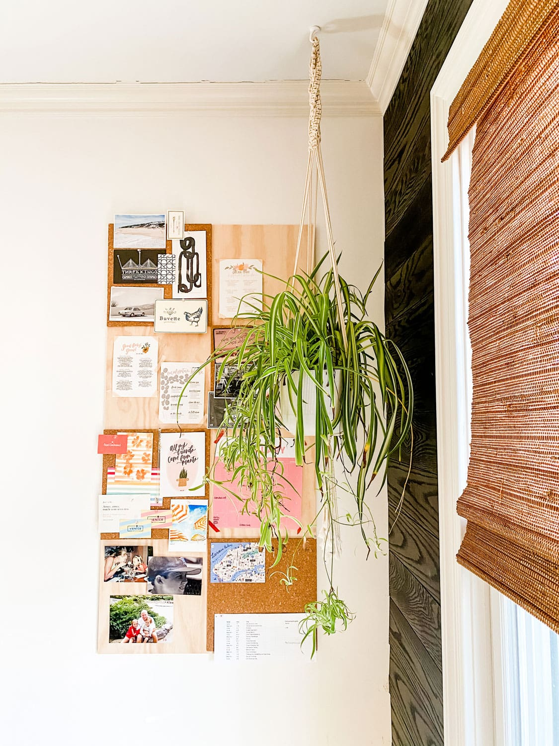 a cork board and plywood grid patten for bulletin board
