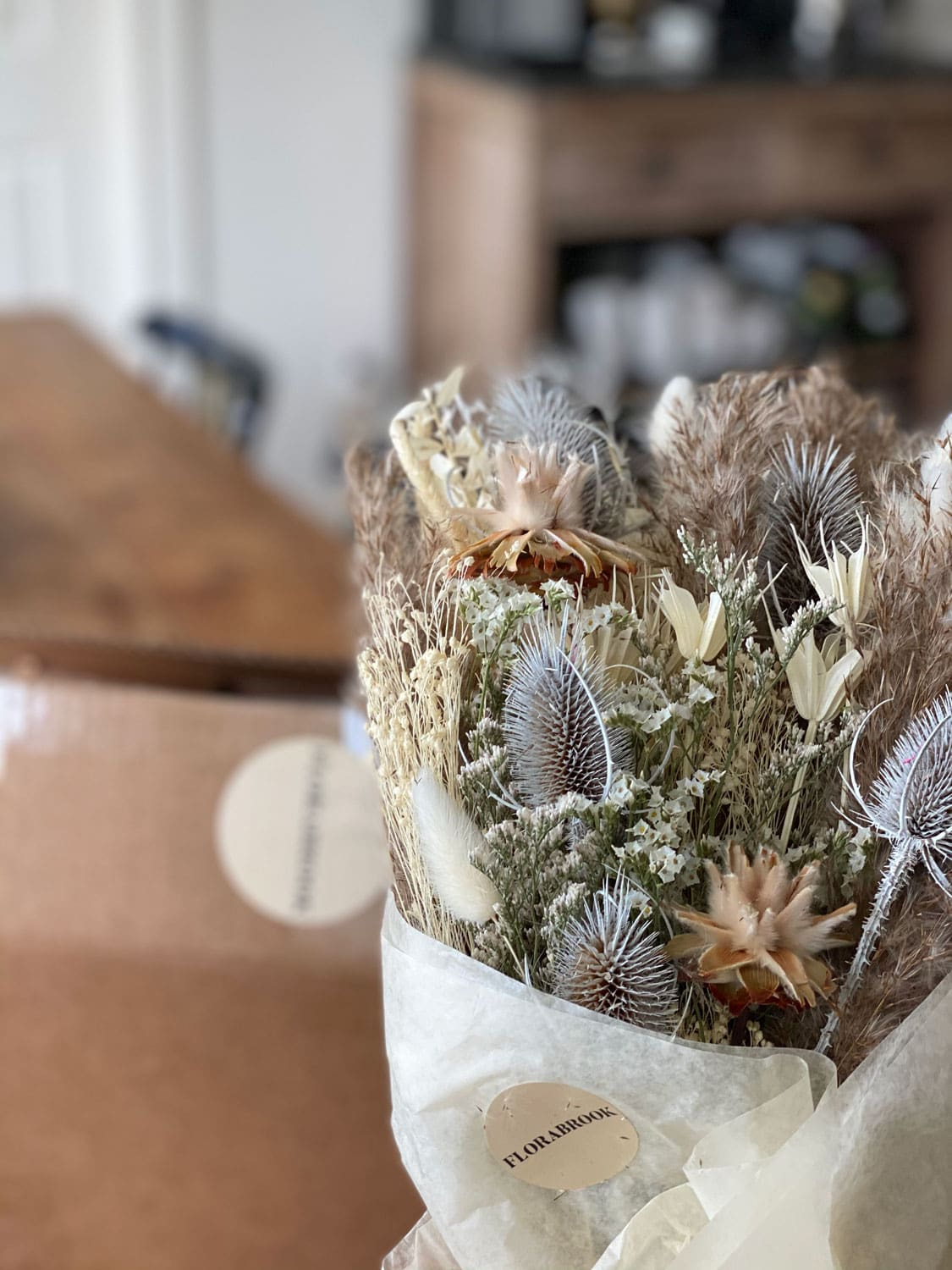 Lifestyle blogger Annie Diamond received a bouquet of dried flowers from Florabrook and they are quite stunning!