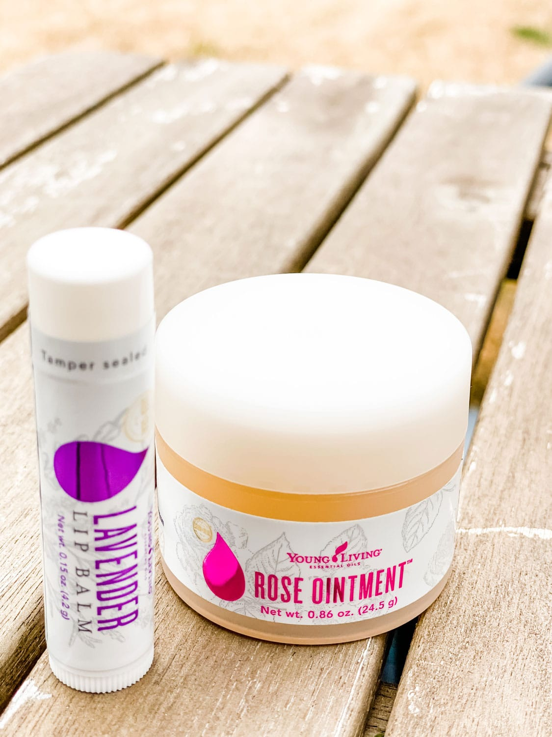 rose ointment and lavender lip balm