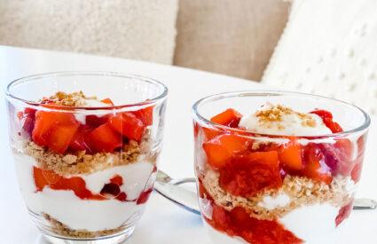 parfaits with yogurt and mixed colorful fruit