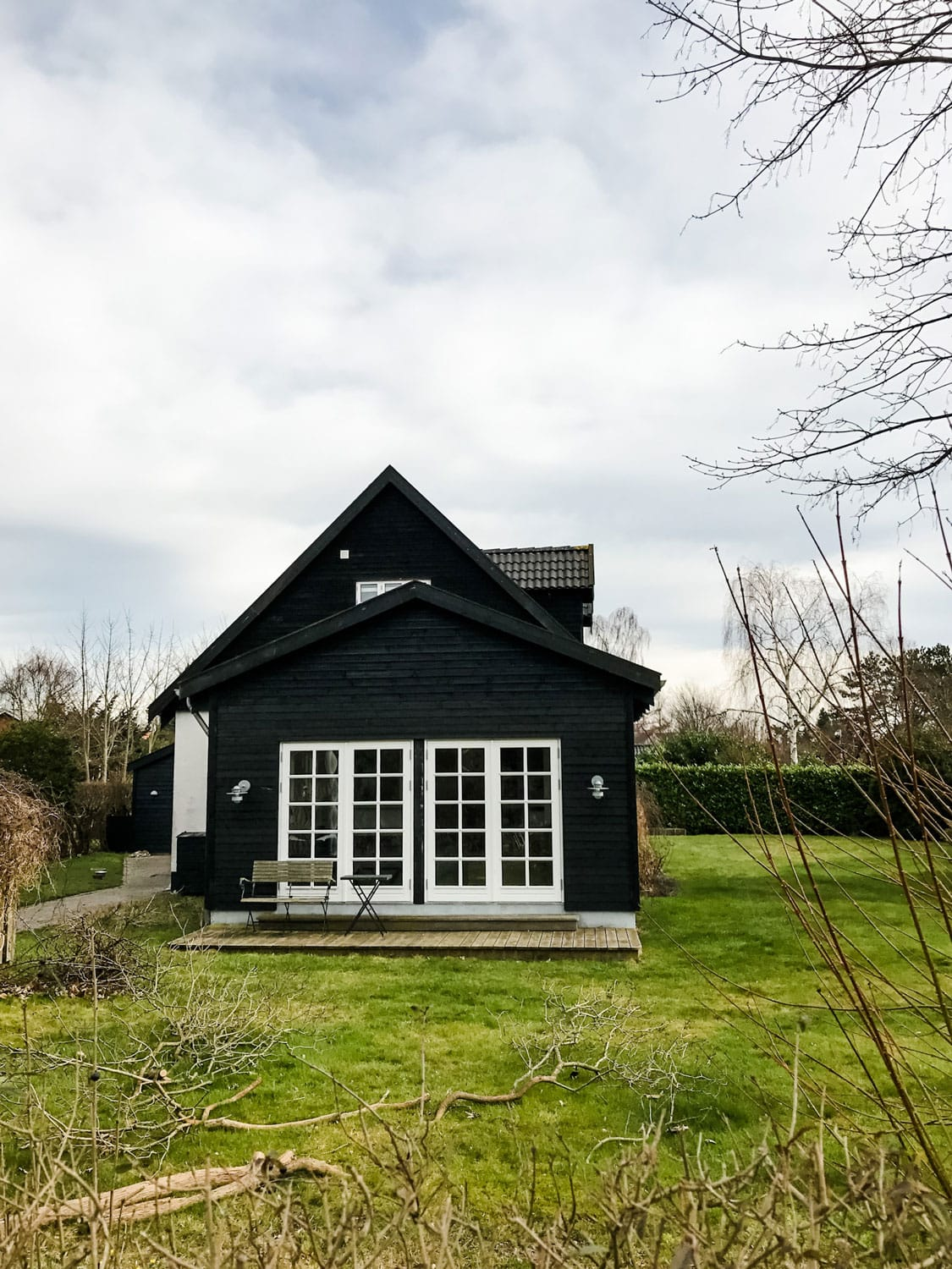 a black house with white trim