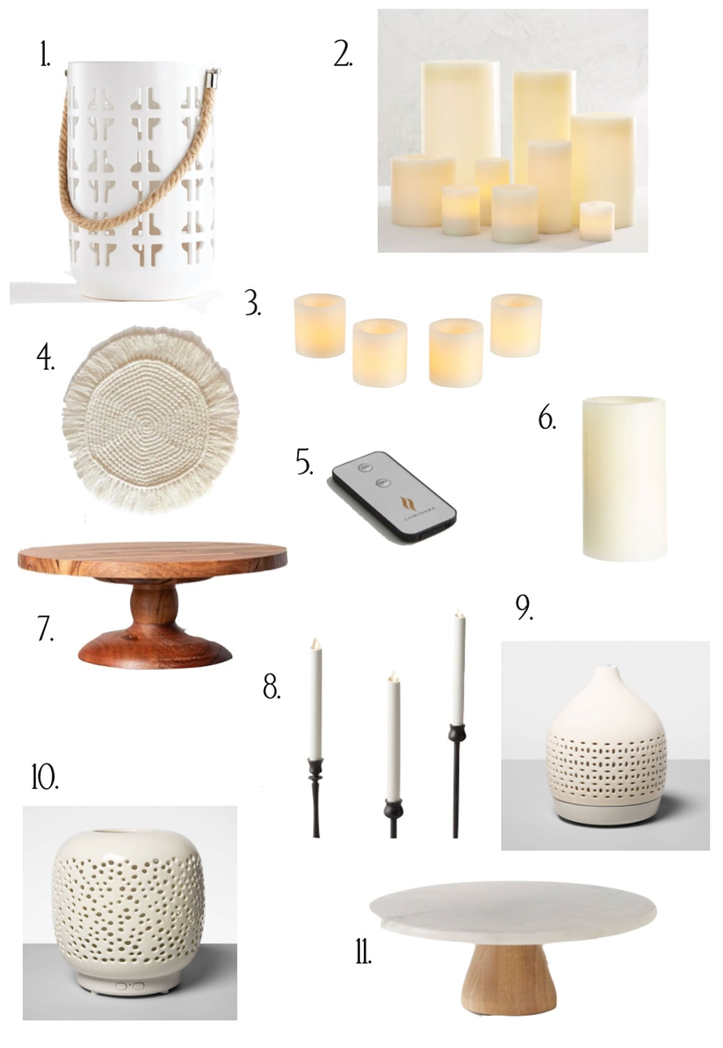 candles, cakes plates, hurricanes on white background