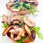 mushroom open faced crostini