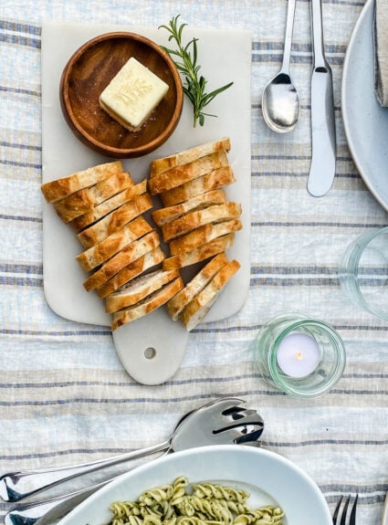 Summer Entertaining with linen and herbs