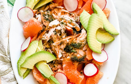 platter with salmon, avocado, citrus