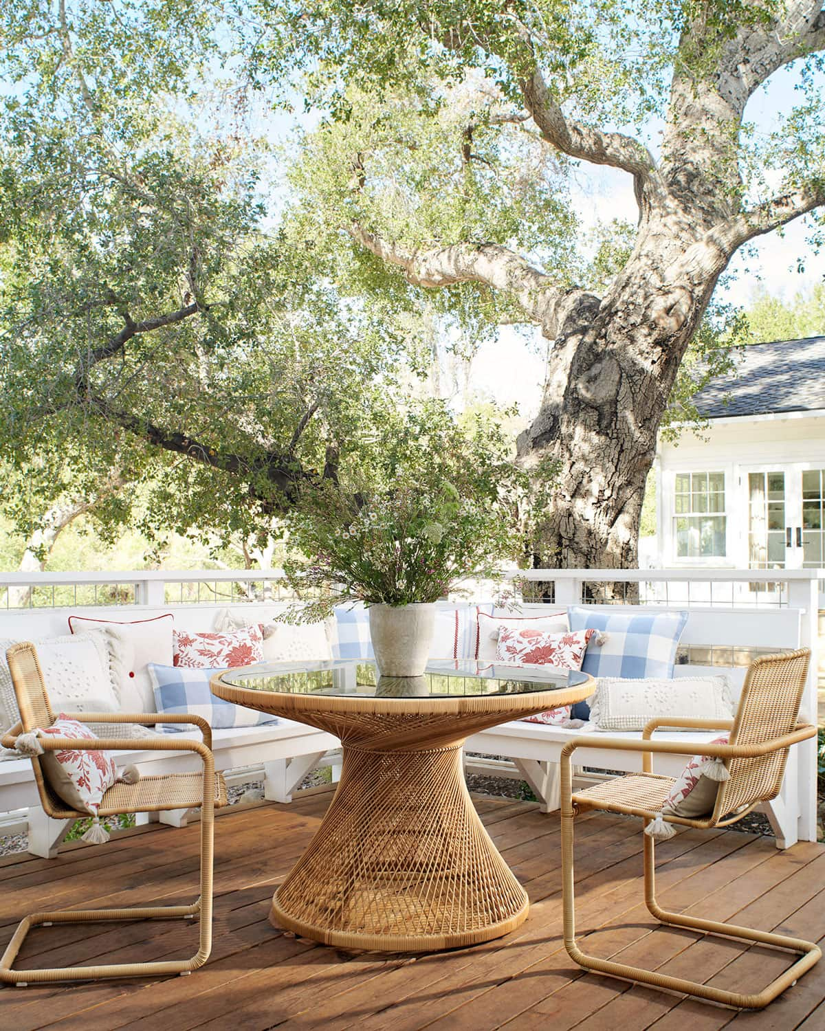 table and chairs in garden setting