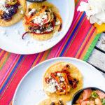tostadas on bright colored festive runner