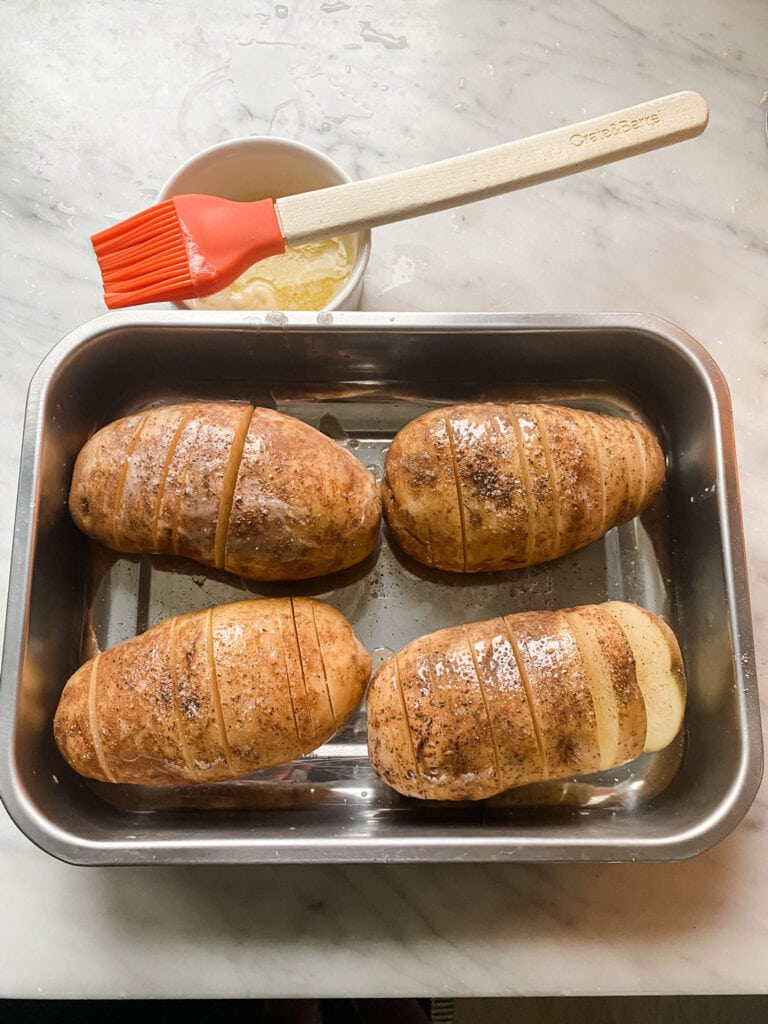 Russet Potatoes that become Hasselback Potatoes in minutes!