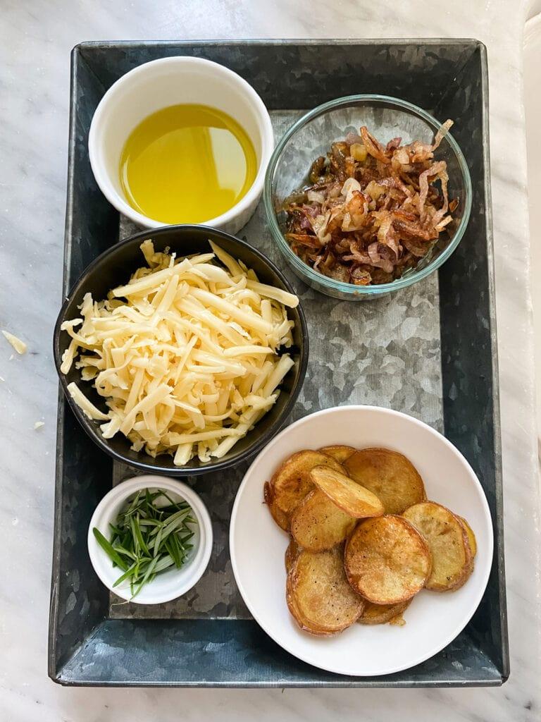 ingredients, potatoes, gouda, shallots, rosemary