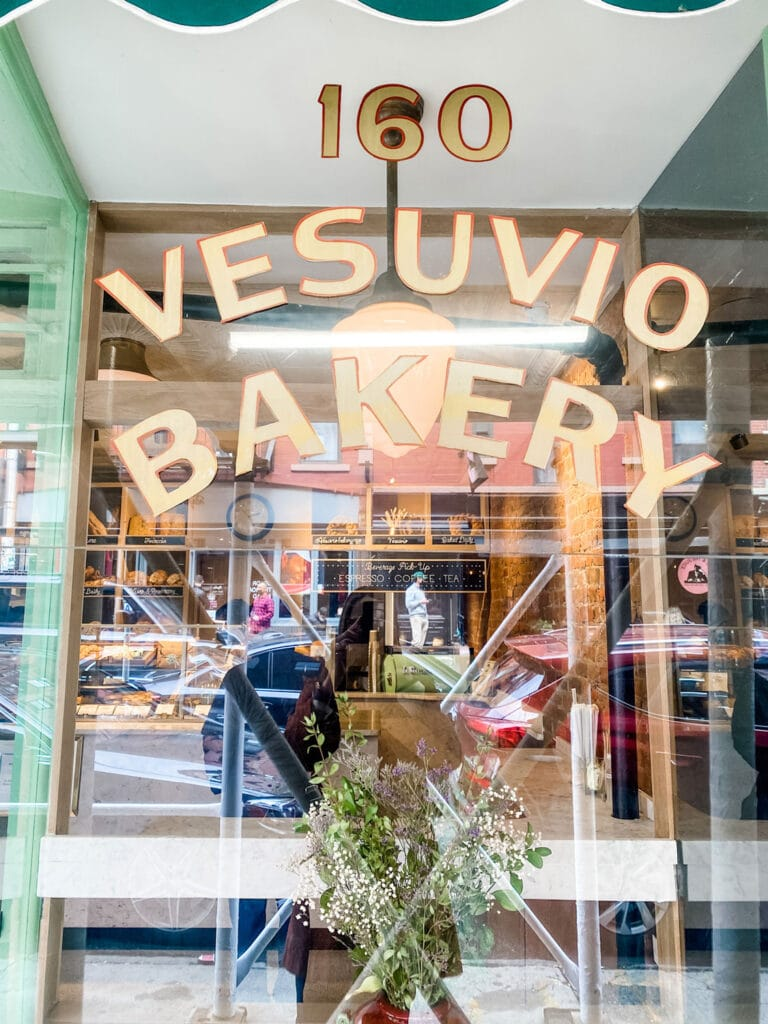 Vesuvio Bakery is the prettiest little shop on Prince Street, has the best bread AND soft serve gelato with olive oil and biscotti!
