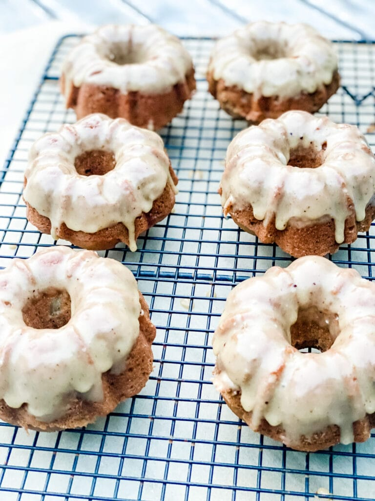 I used Half-Baked Harvests recipe for Apple Cinnamon Maple Glazed doughnut, but used my mini bundt pan and they turned out perfect! More of a fall dessert, but breakfast is okay too!