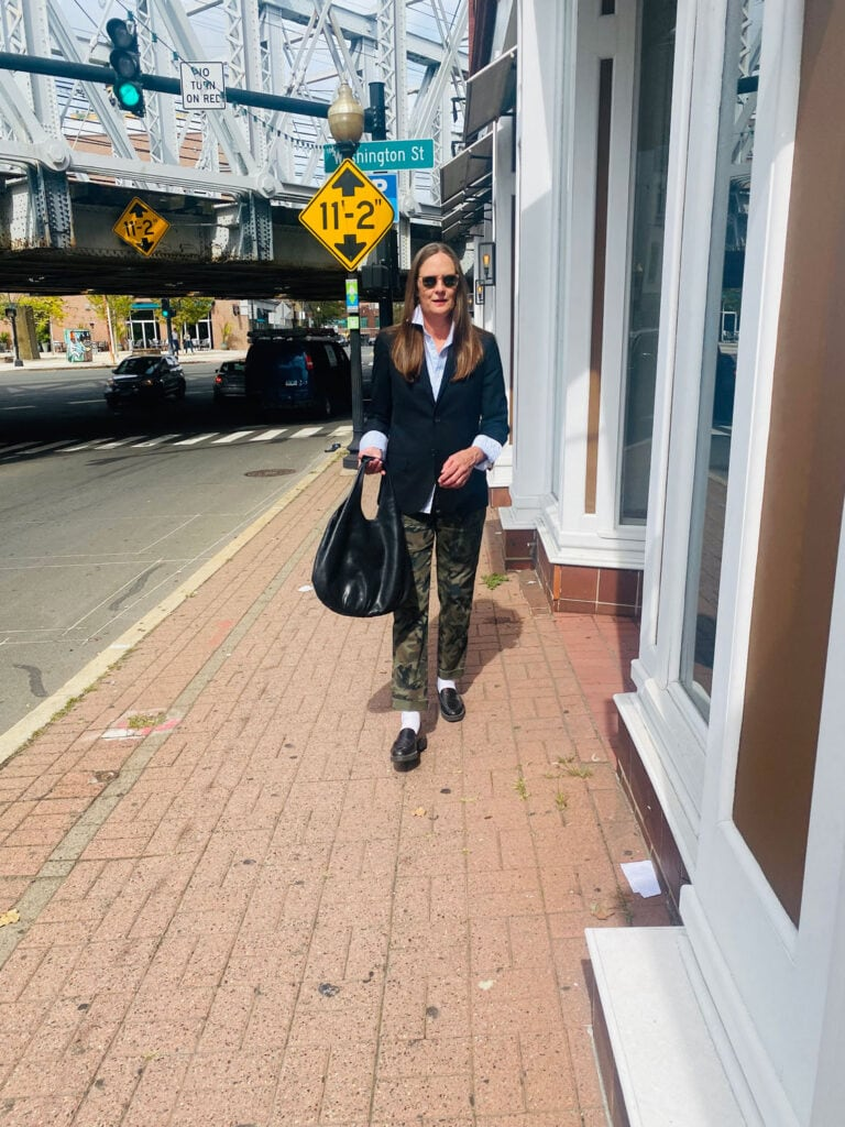 """My uniform; Jeans or came pants, an Oxford shirt, a black blazer and loafers (with socks) I'm loving that this is """"in"""" again!!"""
