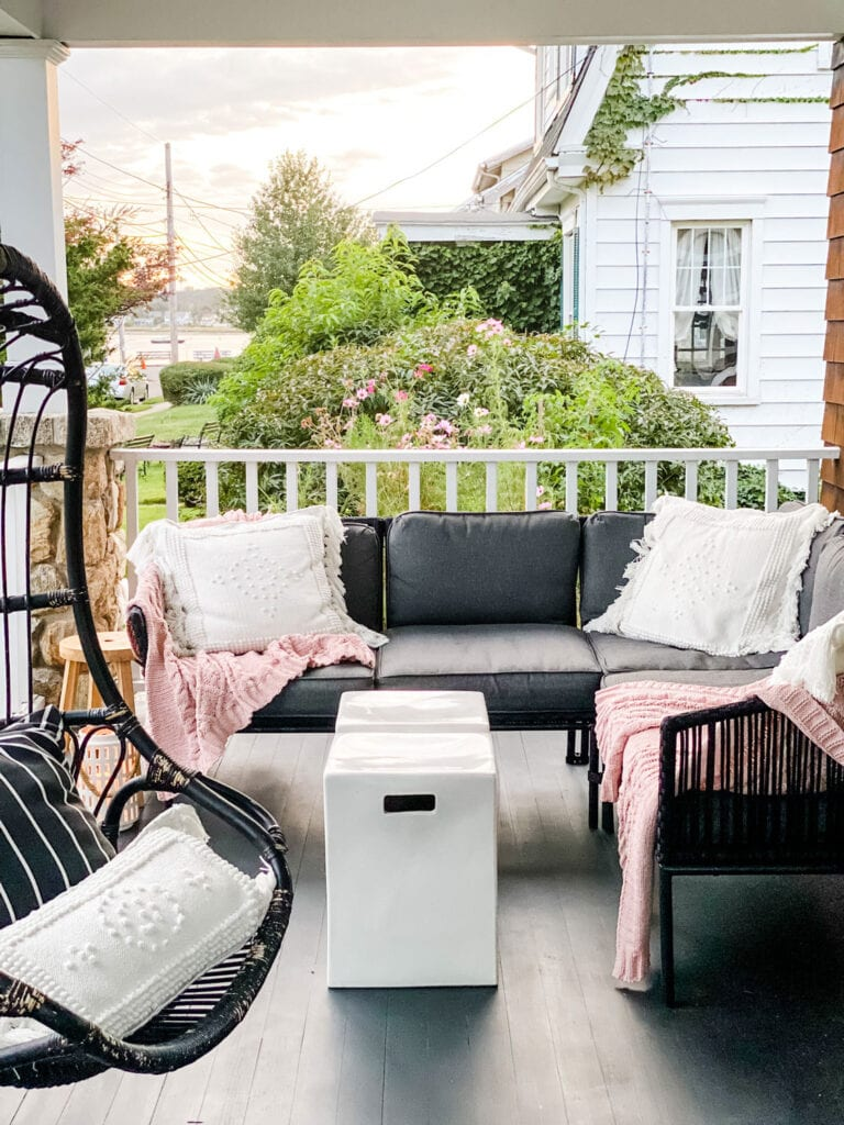 A Coastal Connecticut Porch in the Fall...just add layers with rose colored cozy throws!