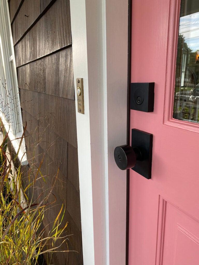Pink Door and Emtek Hardware for fall with pumpkins!