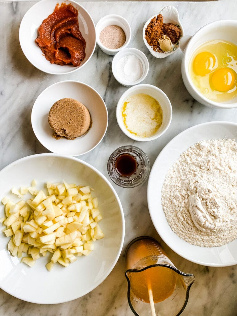 Ingredients for the best Baked Apple Cider Cakes or Doughnuts