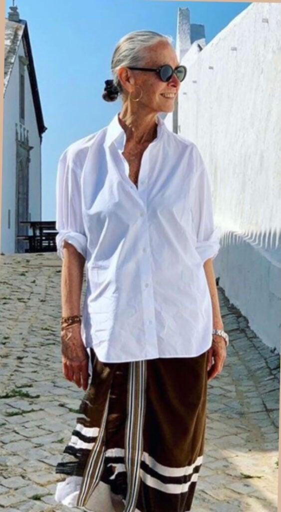Linda V. Wright in the Classic White Shirt from Crimson Paris