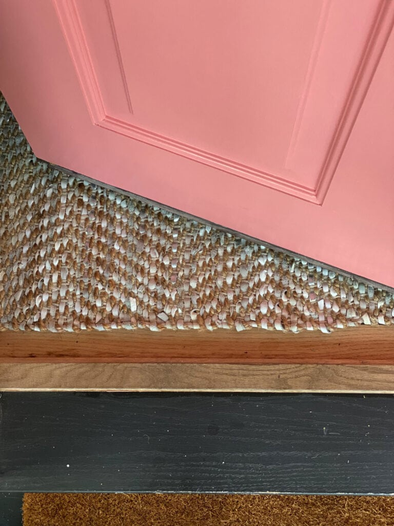 Pink Door and Emtek Hardware for fall with pumpkins and a new entryway rug from Serena & Lily!