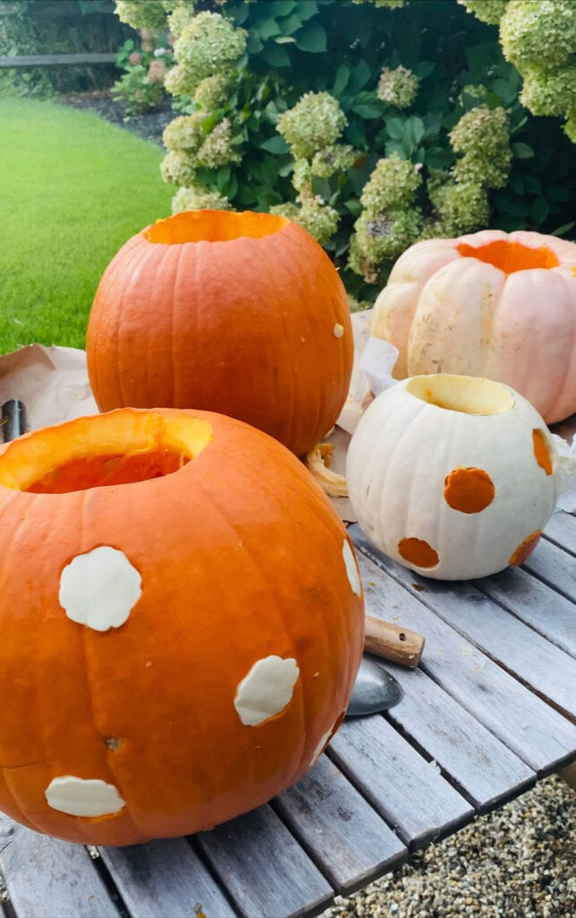 We tried making the pumpkins from the October issue of Martha Stewart Living, but power tools made it so much easier on the rest!