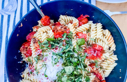 Smitten Kitchen's Baked Tomato Sauce with Fusilli is your new favorite go-to pasta dish for family or last minute guests! It's easy and so good!