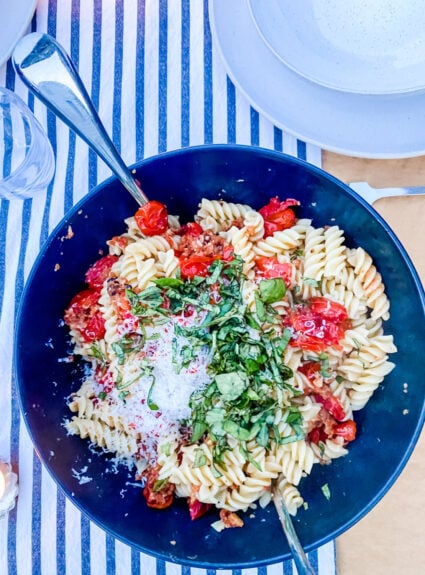 A Late Summer Pasta dish with Cherry Tomatoes you'll love!