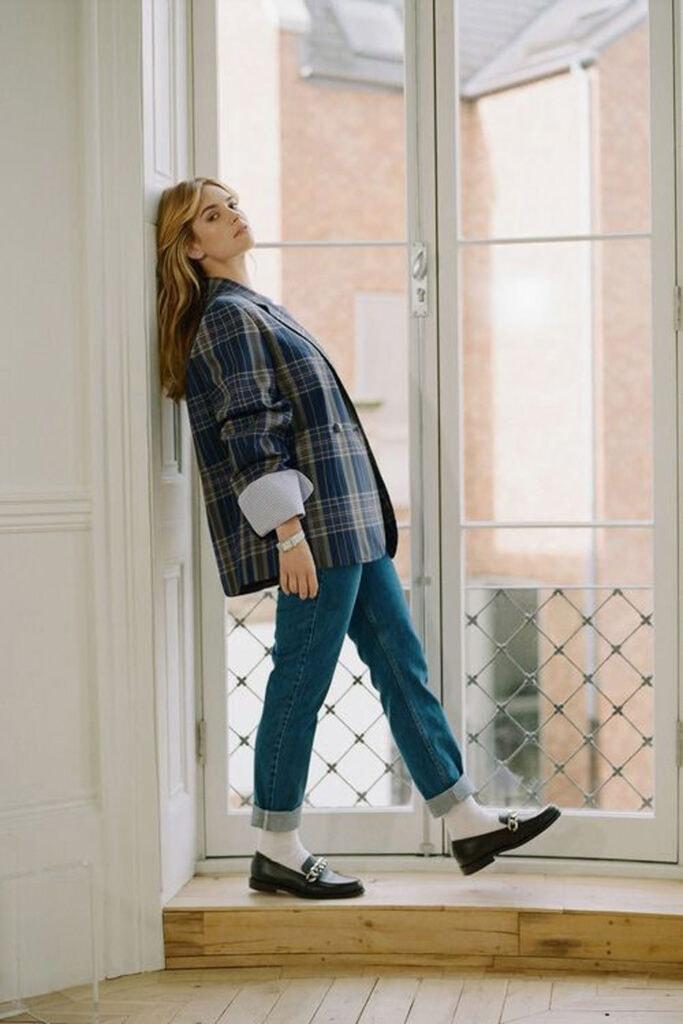 Plaid Jacket, loafers and socks