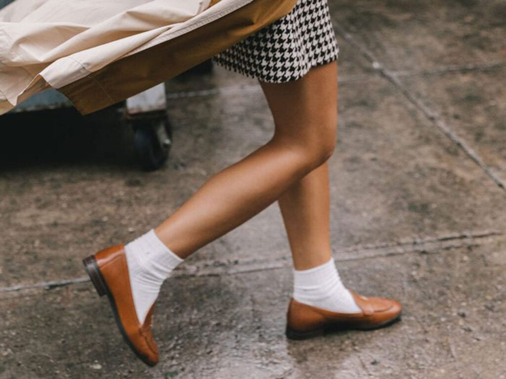 Loving that socks with loafers is in style!