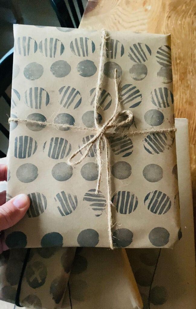 Make potato print gift wrap patterns